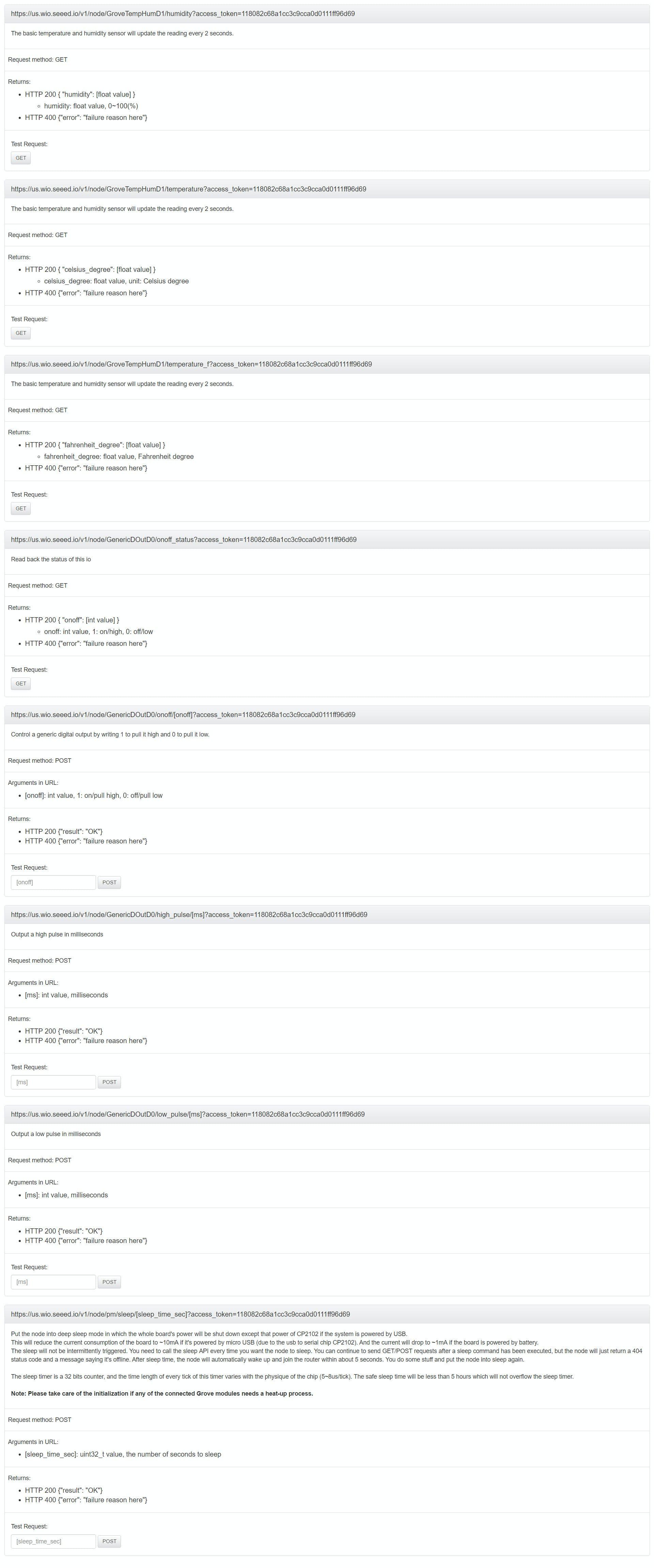 API for one of the WIO NODESs