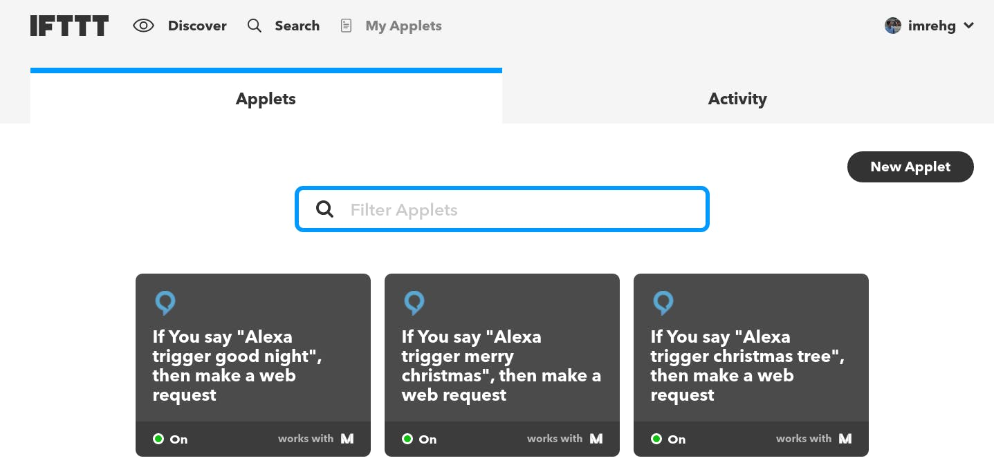 IFTTT Applets set up for this project