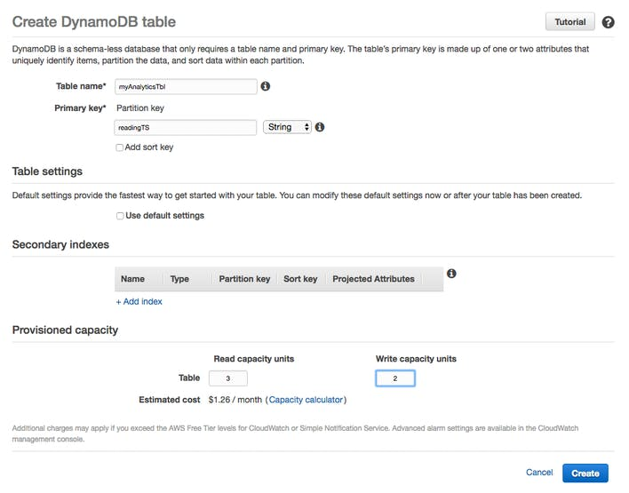 Screenshot from provisioning a DynamoDB table in AWS for Analytics