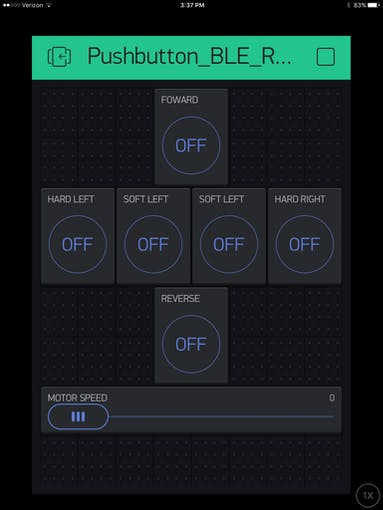 Blynk Pushbutton control screen