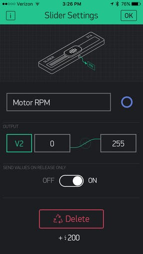 Blynk Motor speed adjustment slider switch set-up