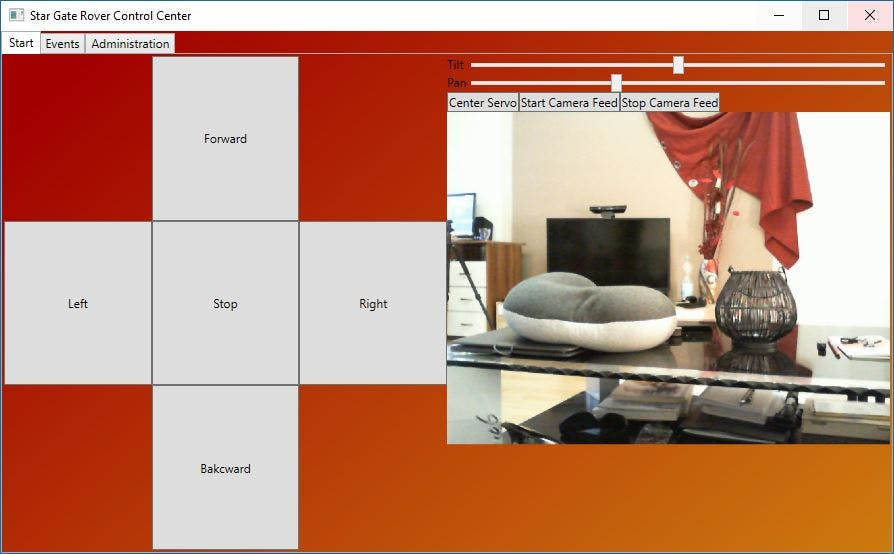 Control Application UI with camera feed