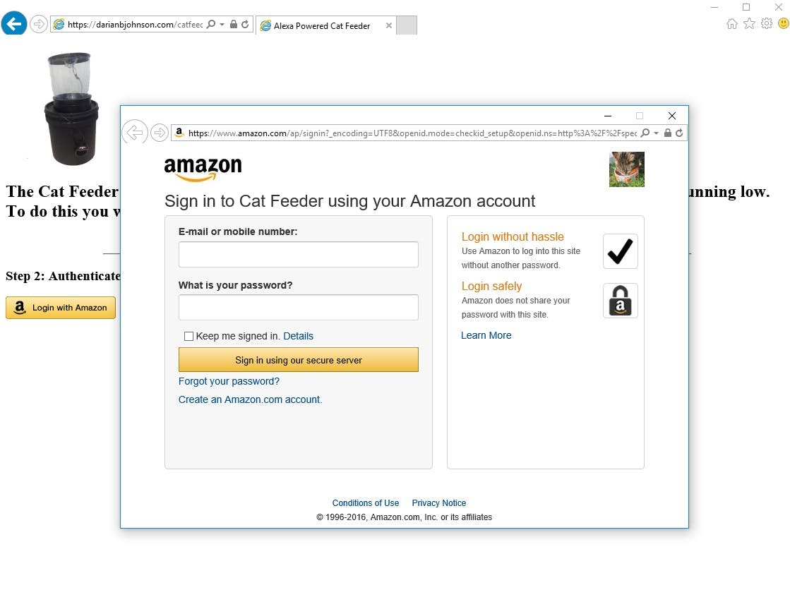 A Pop-up for Login With Amazon allows the user to authenticate.