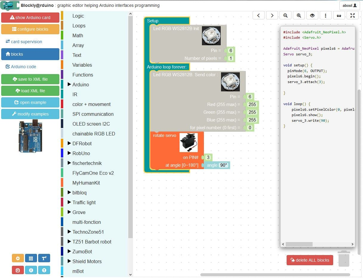Blockly@rduino: Create Code with Blocks