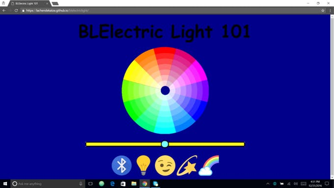 This is the HTML interface to the BLElectric Light Bulb Project.