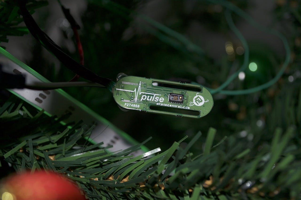 Pulse sensor sitting on the tree