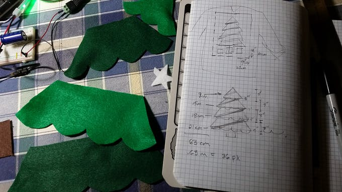 I calculated the size of the tree and RGB LED strings. (It turned out to have 35 pixels, not 36.)