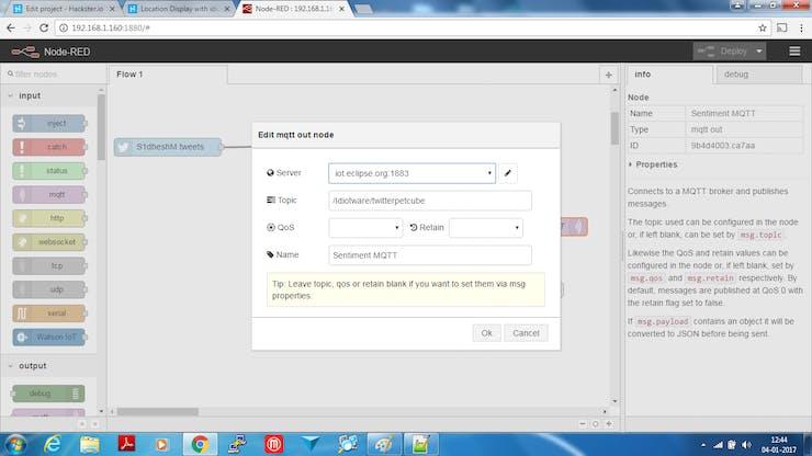 MQTT Sending Sentiment Value to iot.eclipse.org