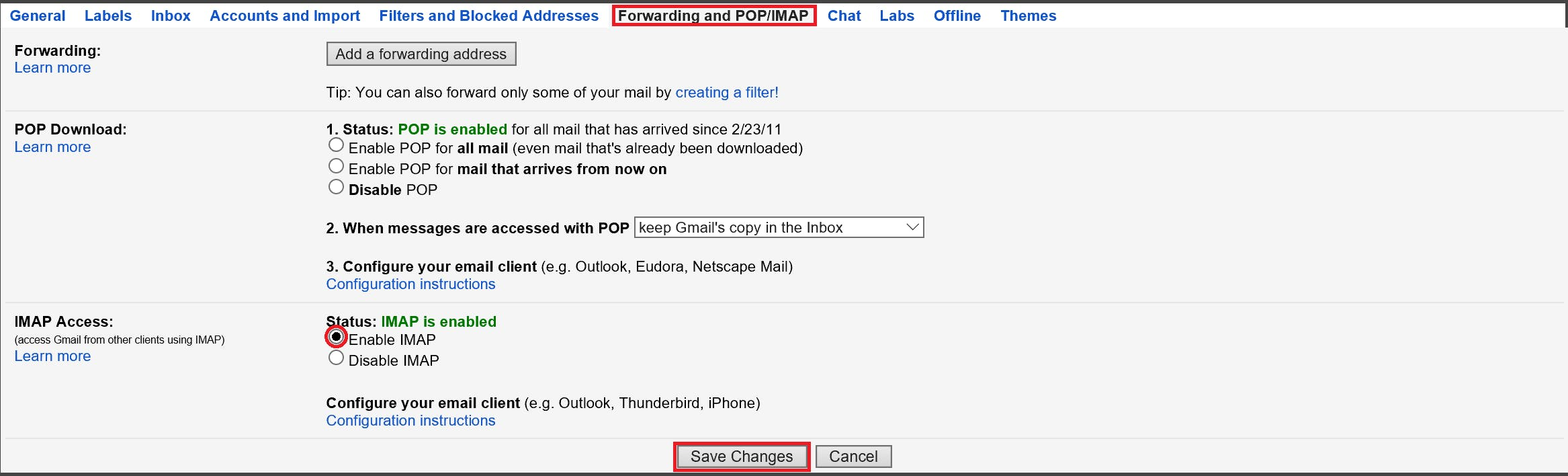 Go to Settings>Forwarding and POP/IMAP enable IMAP and Save Changes