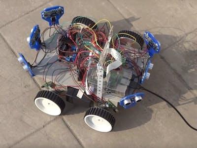 Six Ultrasonic Sensors   Raspberry Pi Robot