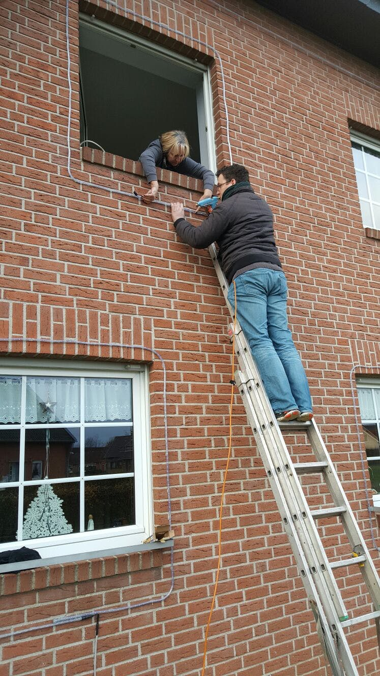 Installing lights at the upper windows