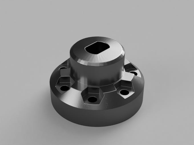 Modified hub adapter to fit VEX wheels to the DC motors. (yeah, this is completely fake)