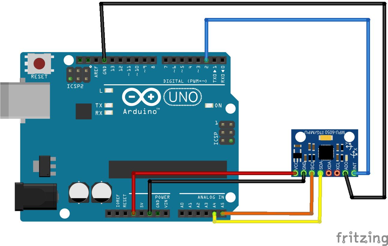 Wiring diagram for using the MPU-6050 with an Arduino Uno.