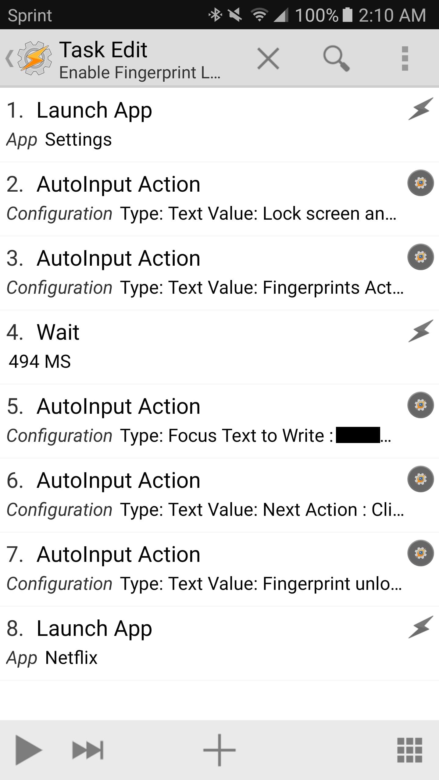 Enable Fingerprint Lock task in Tasker