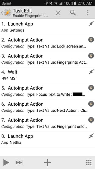 Enable Fingerprint Lock task in Tasker
