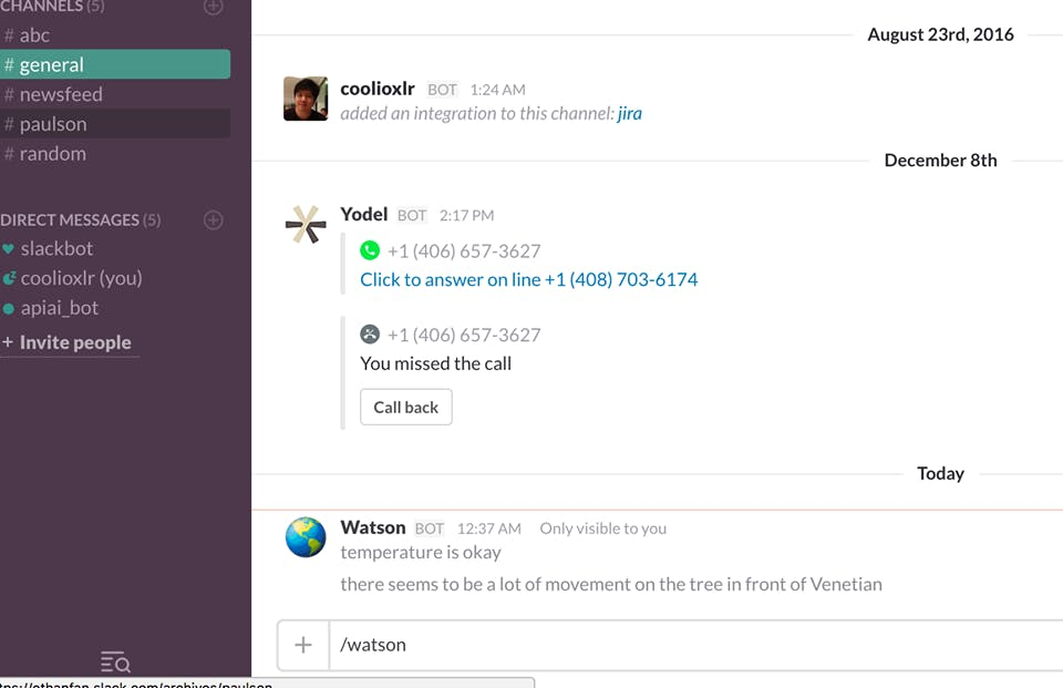 IBM Conversation API and Slack for Collaboration