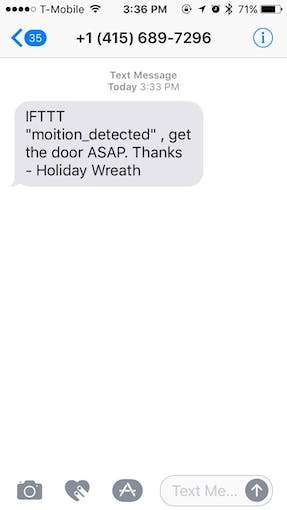 Sample SMS I received when motion was detected