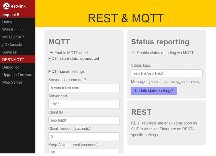 Config page for ESP-link for MQTT