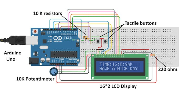Simple Arduino Digital Clock Without RTC  Hacksterio