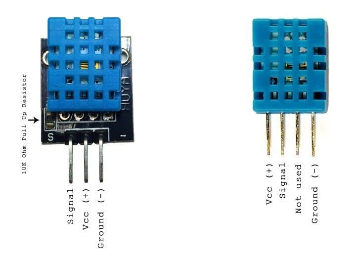 3 Pins and 4 Pins DHT11