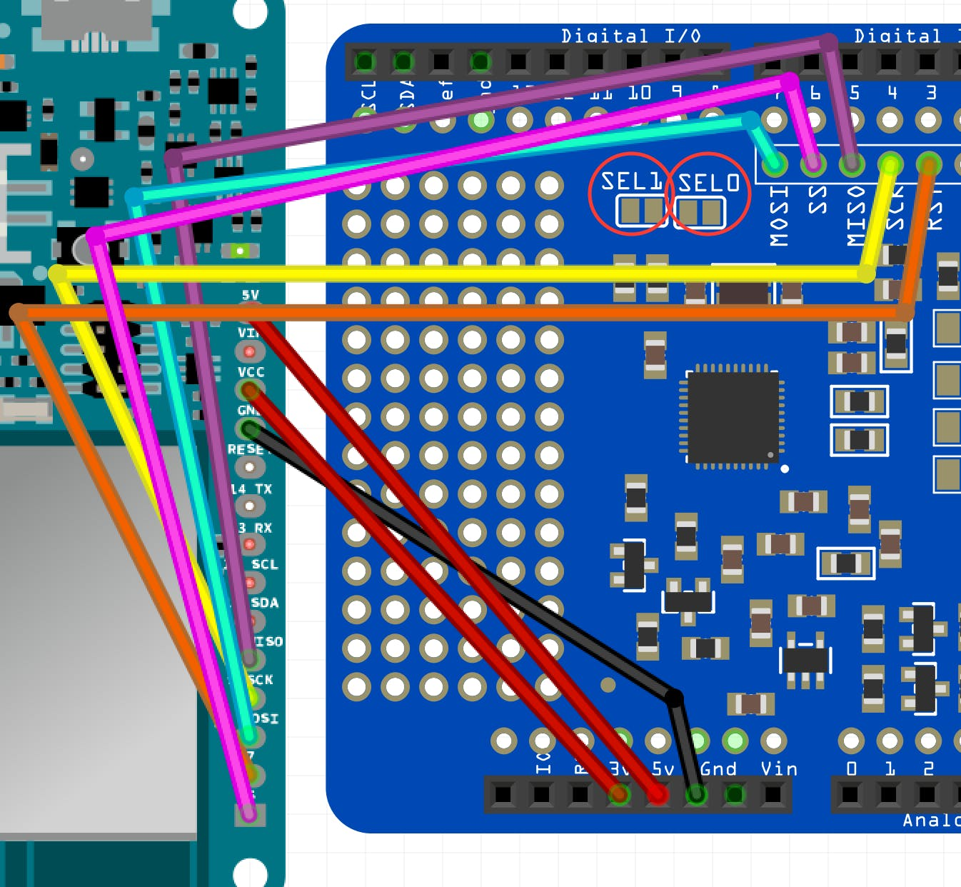 Fritzing Breadboard View of PN532 Shield and MKR1000