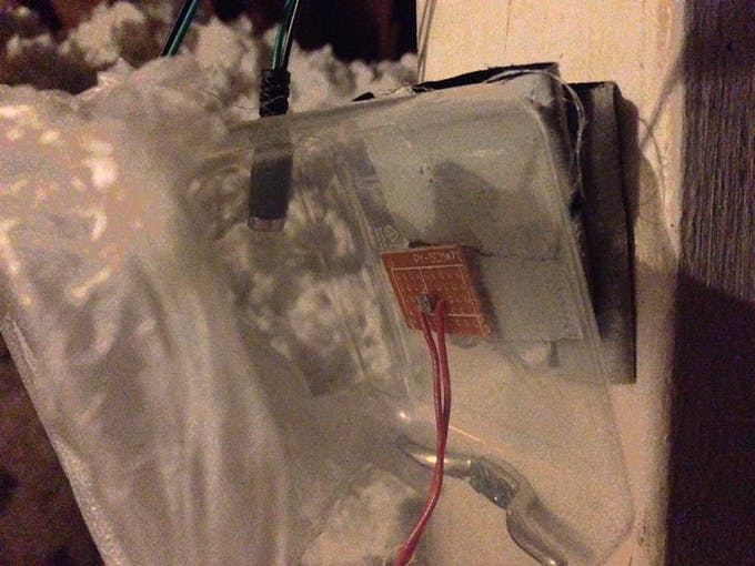photo-resistor glued to plastic container