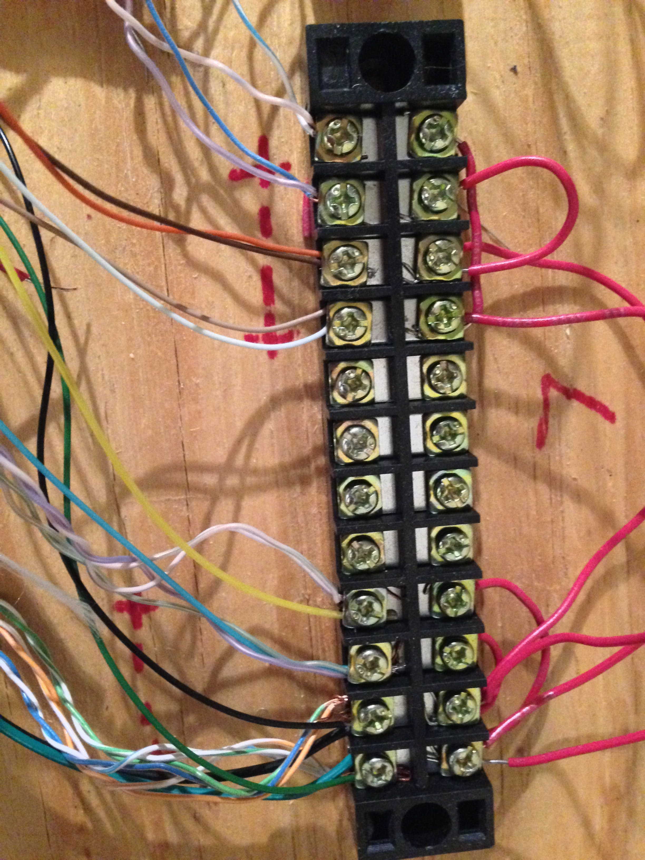 block terminal strip for lasers; all of these cables lead to one +/- pair for control