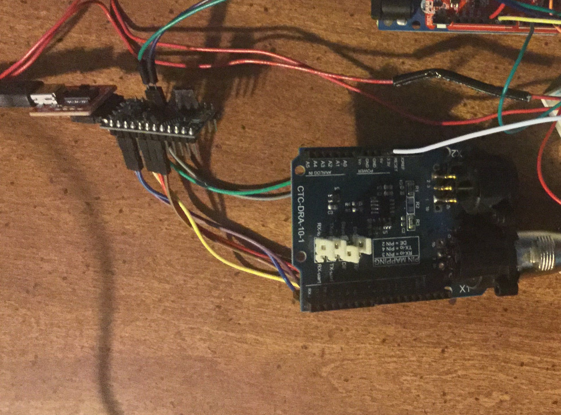 DMX shield pins connected to Pro Mini using jumper wires