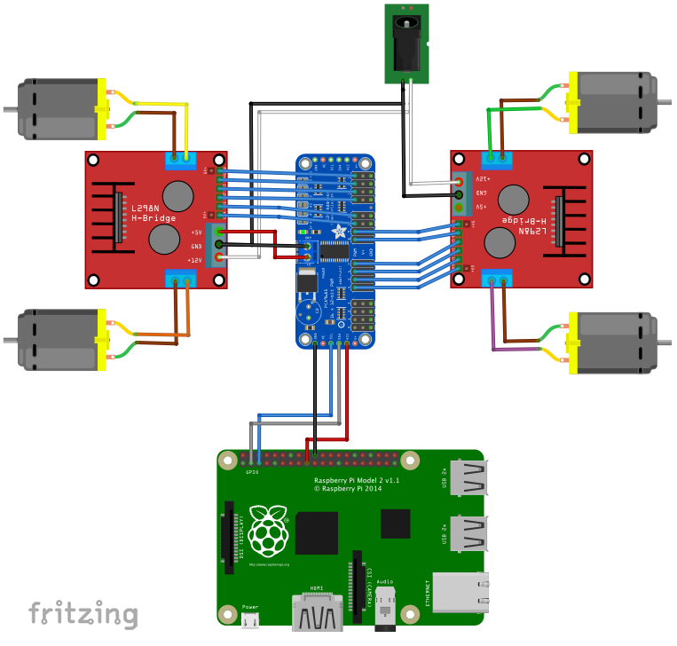 4 Wheel Drive, DC Motor Control for Raspberry Pi - Hackster io