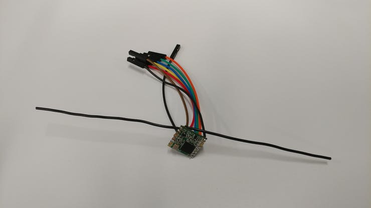 RFM95W With Leads (this image is missing the reset wire)