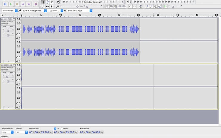 Audacity with clue audio (track 1) and keypad beep (track 2)