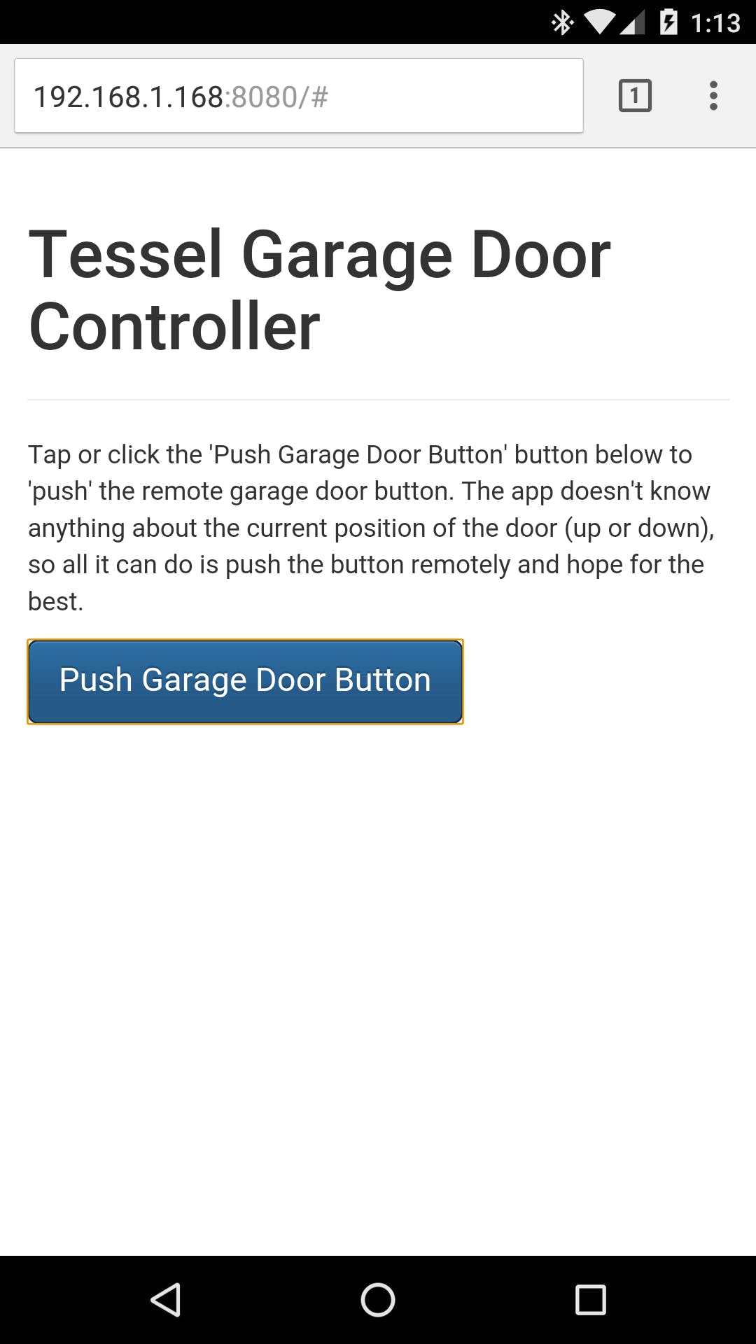 Figure 3 – Garage Door Controller Web Application