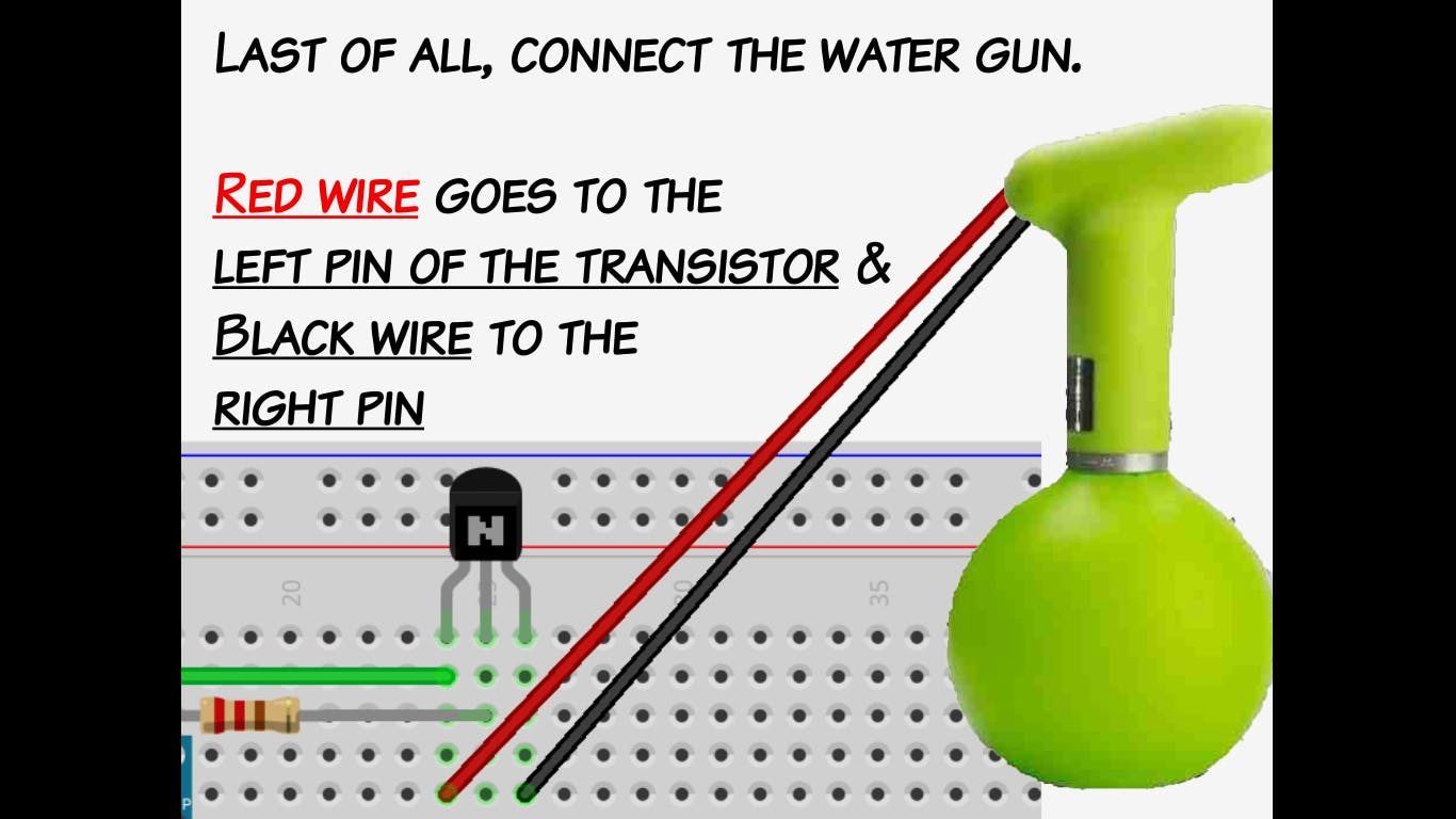 in some cases, connect the red wire to the right transistor pin and black wire to the left pin