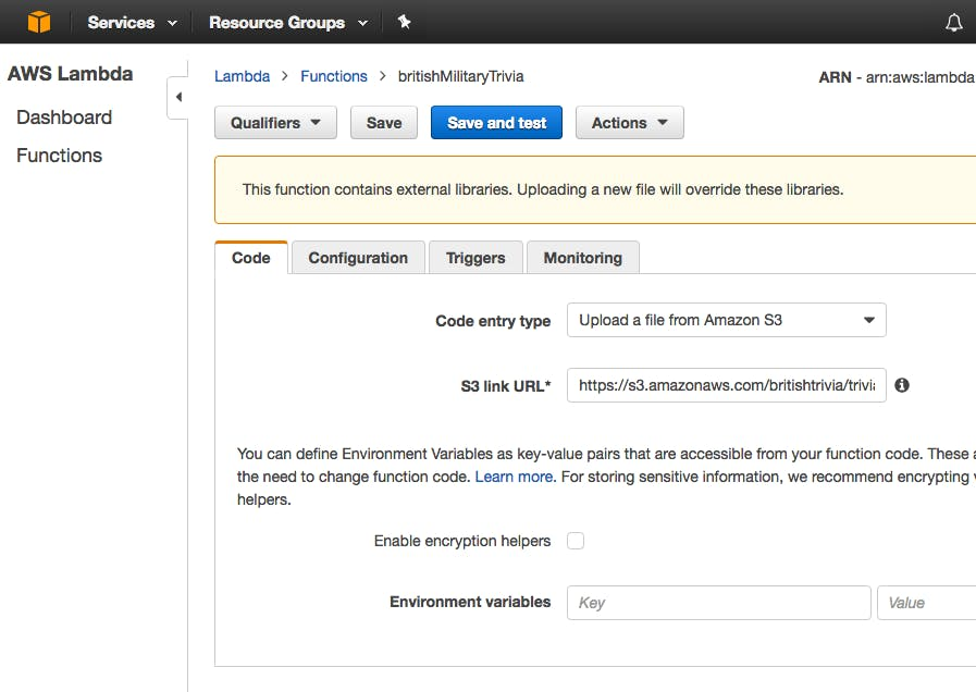 Screenshot of the AWS Console for the Lambda Service