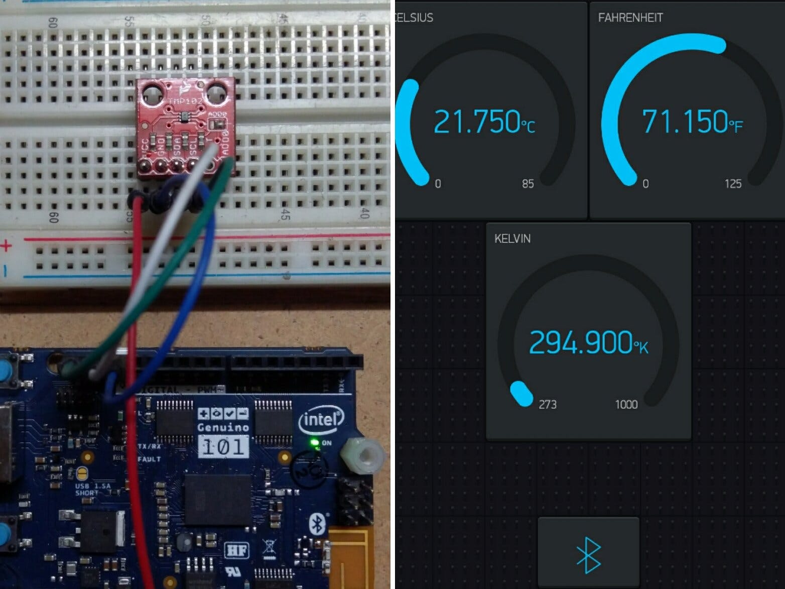 Arduino/Genuino 101 BLE Thermometer With TMP102 and Blynk