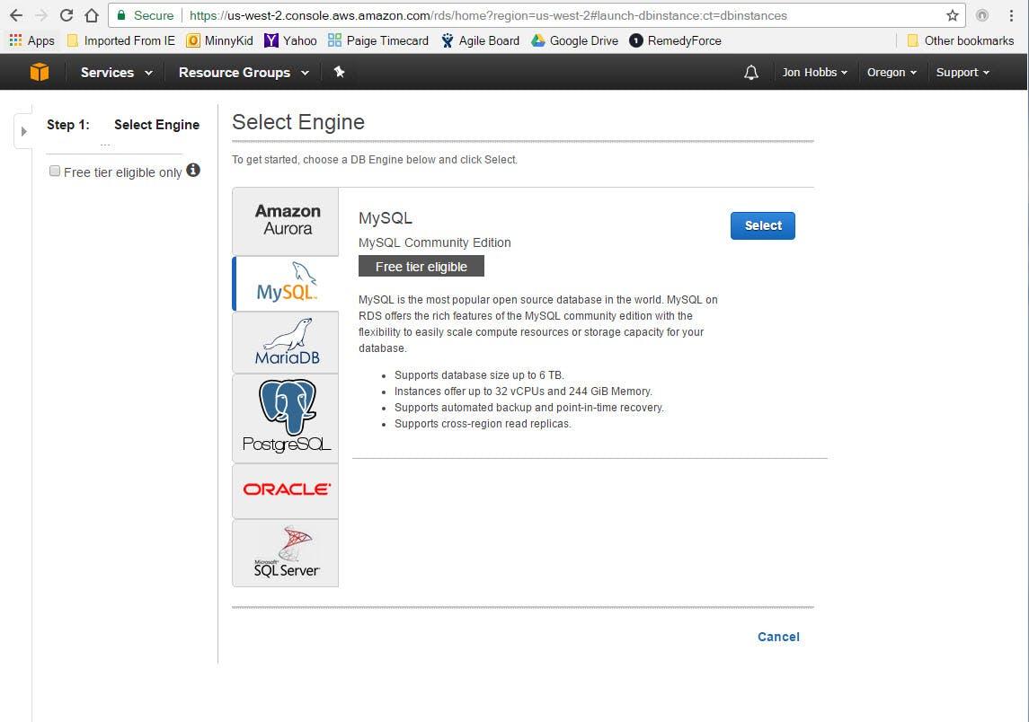 "Click the MySQL logo.  Then click the ""Select"" button"