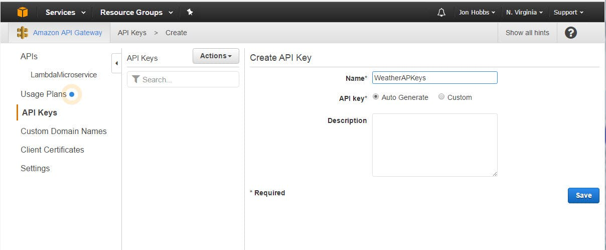 "Give your key a name and add a description if you like.  Leave ""Auto Create"" selected.  Click the ""Save"" button."