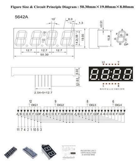 4 Digits x 7 Segments - Common Anode Display
