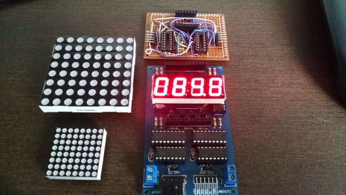 4 Dig x 7 Seg Display and Prototype #1 at top