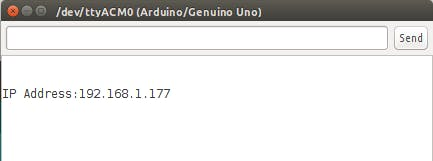 Serial monitor example message of IP Address