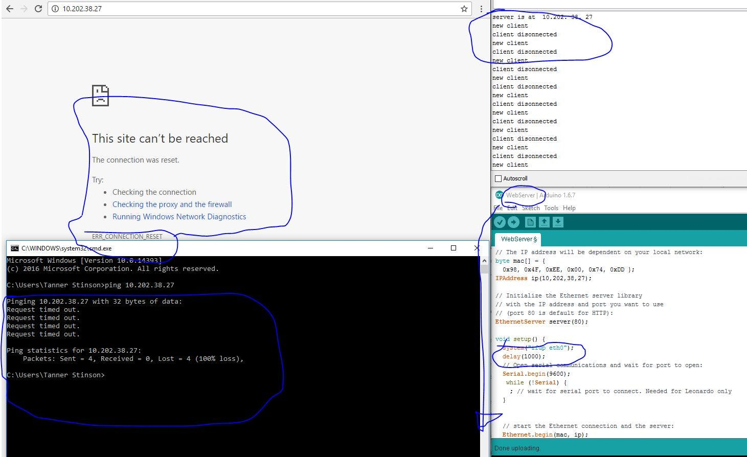 Chrome with IP Address, Command Prompt pinging IP address, and the Arduino IDE showing that there is in fact a connection