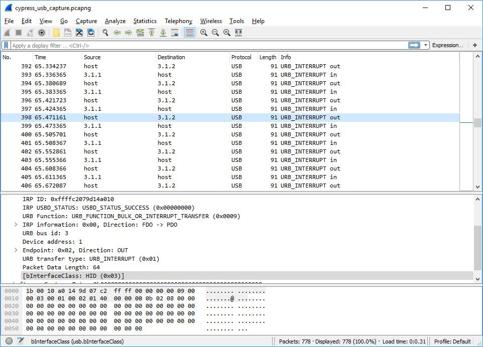 Bridge Control Panel - USB data capture