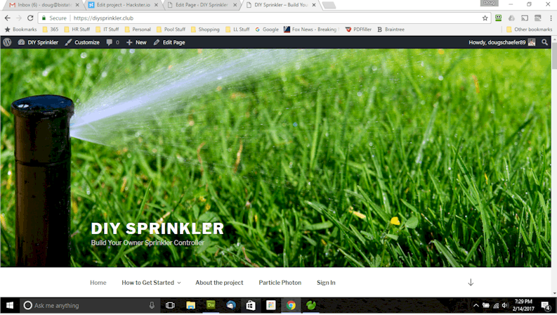 The front page of the DIYSprinkler Site