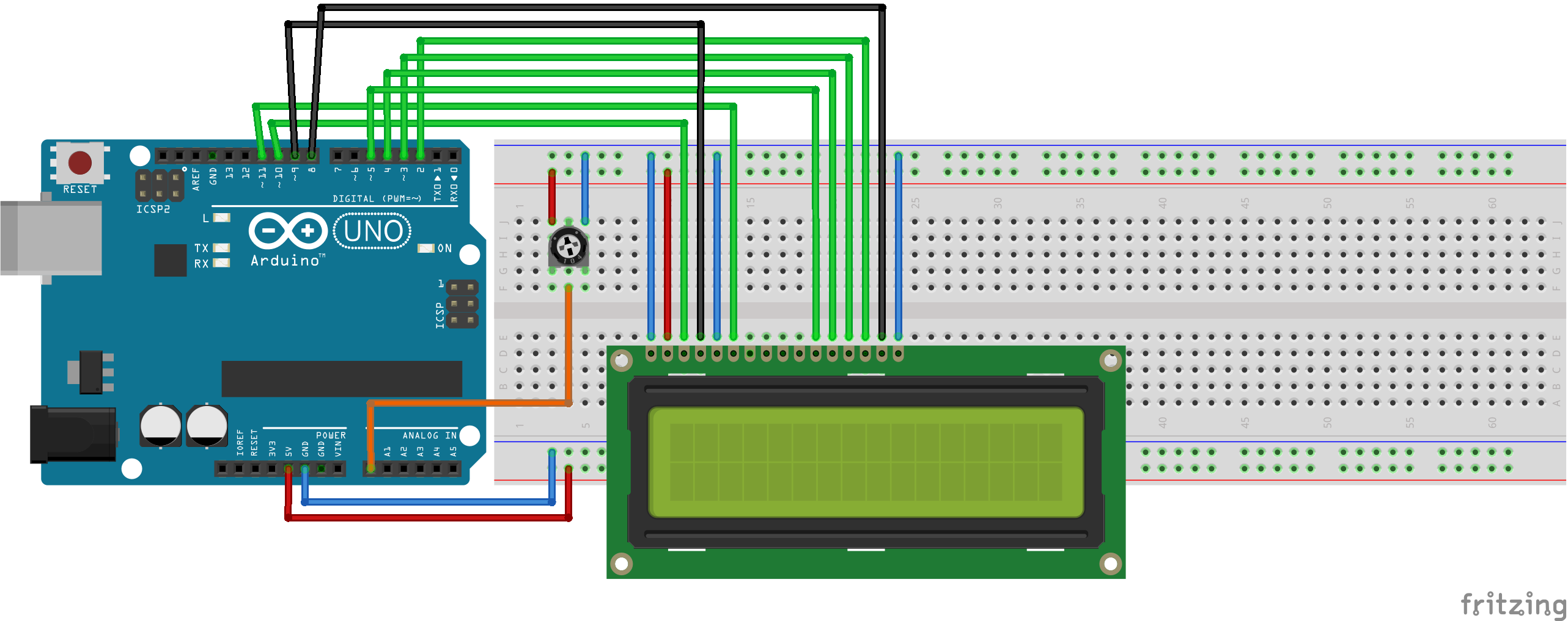 Lcd Backlight And Contrast Control Wiring Arduino Kontrast Und Hintergrund Steckplatine Yslxoewazh
