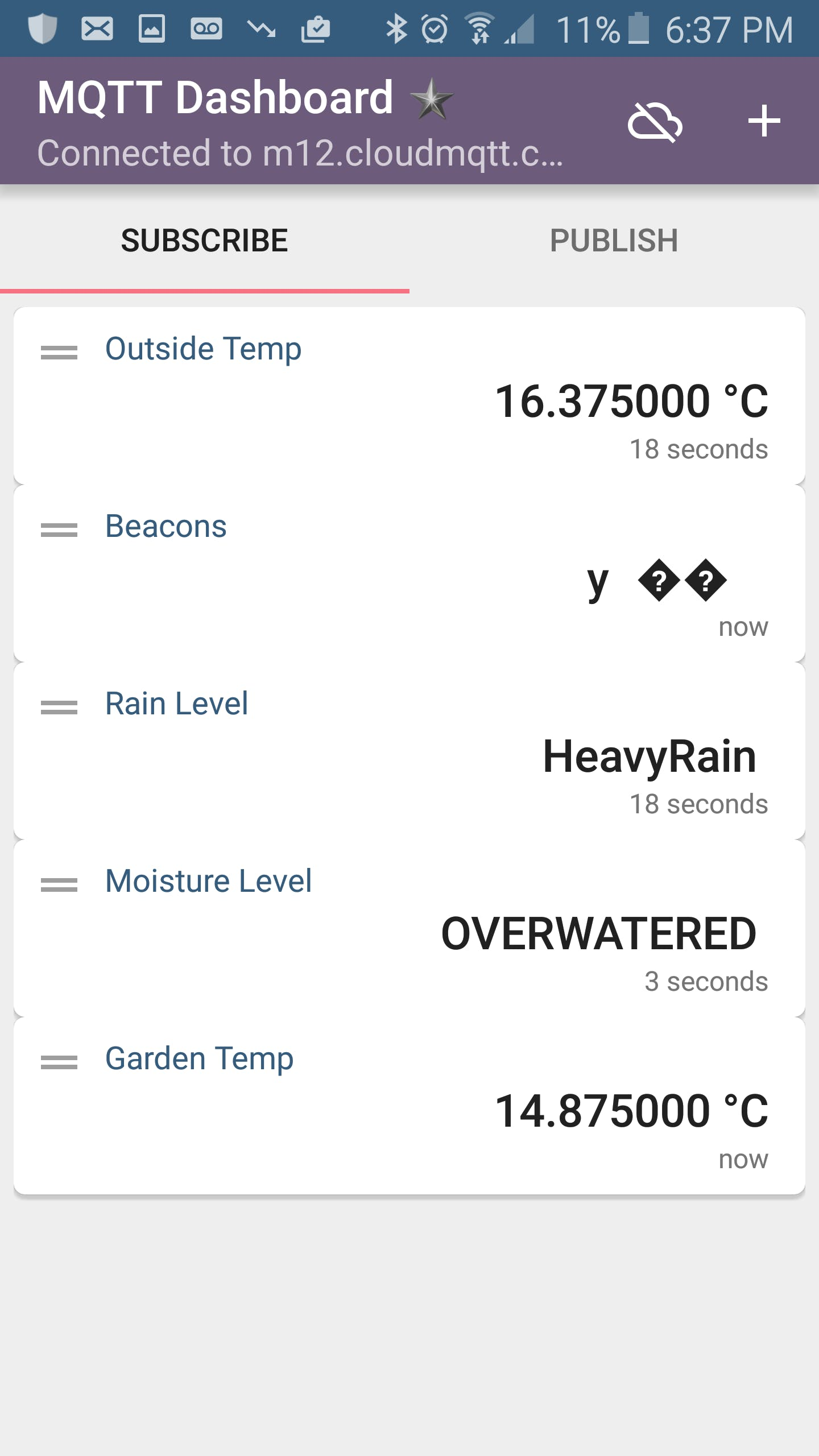 Note - We had other mcModules reporting variables into the app including a rain sensor device!