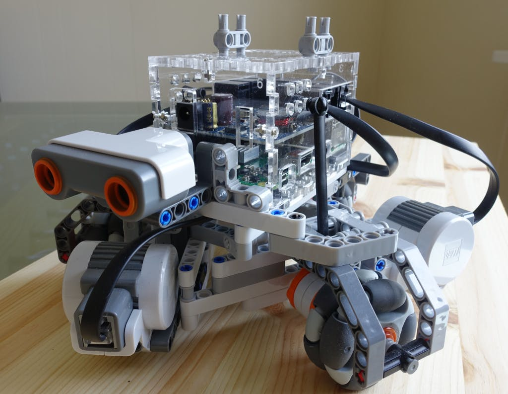 BrickPi enclosure mounted on the holonomic chassis