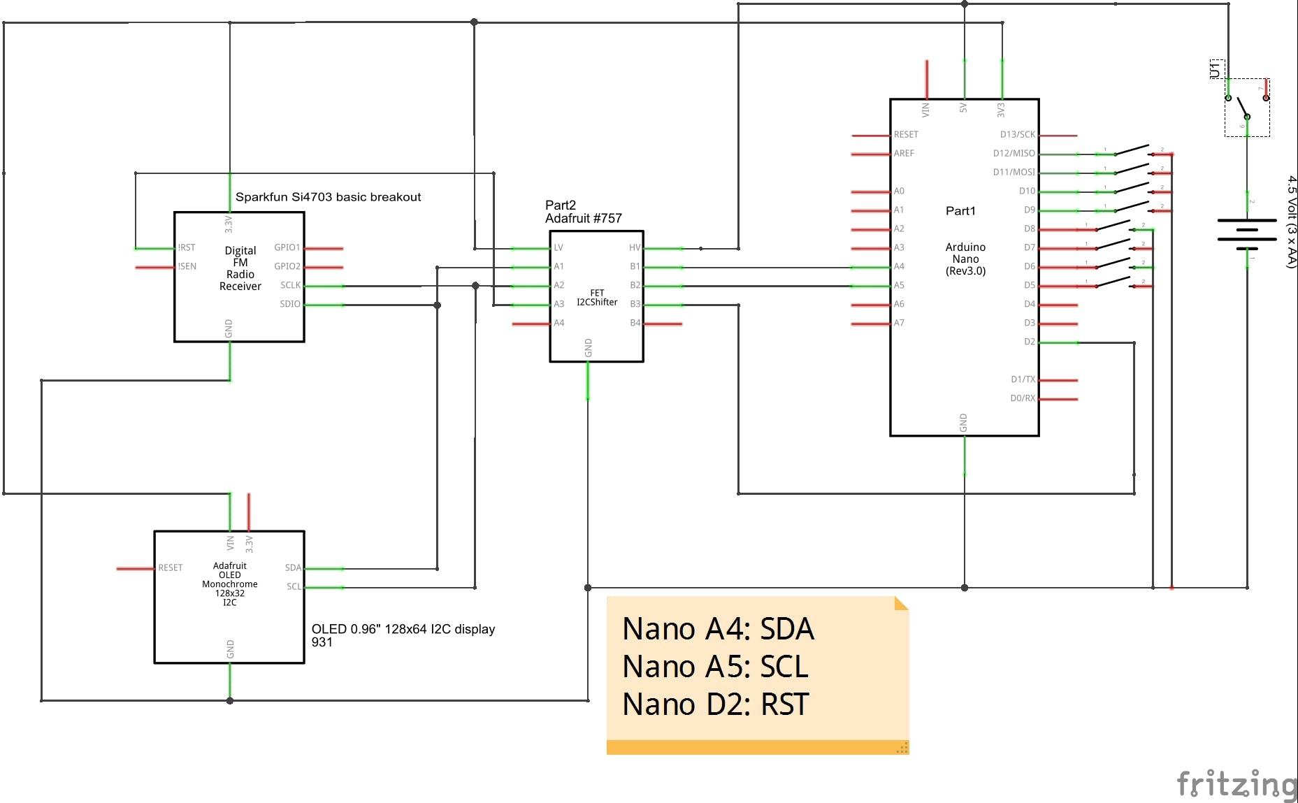 Schematics of Nano, radio and display with I2C logic level conversion 5V / 3.3V