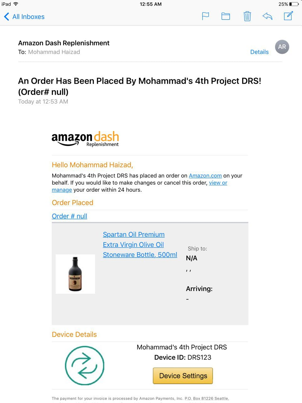 Email confirmation of olive oil purchased