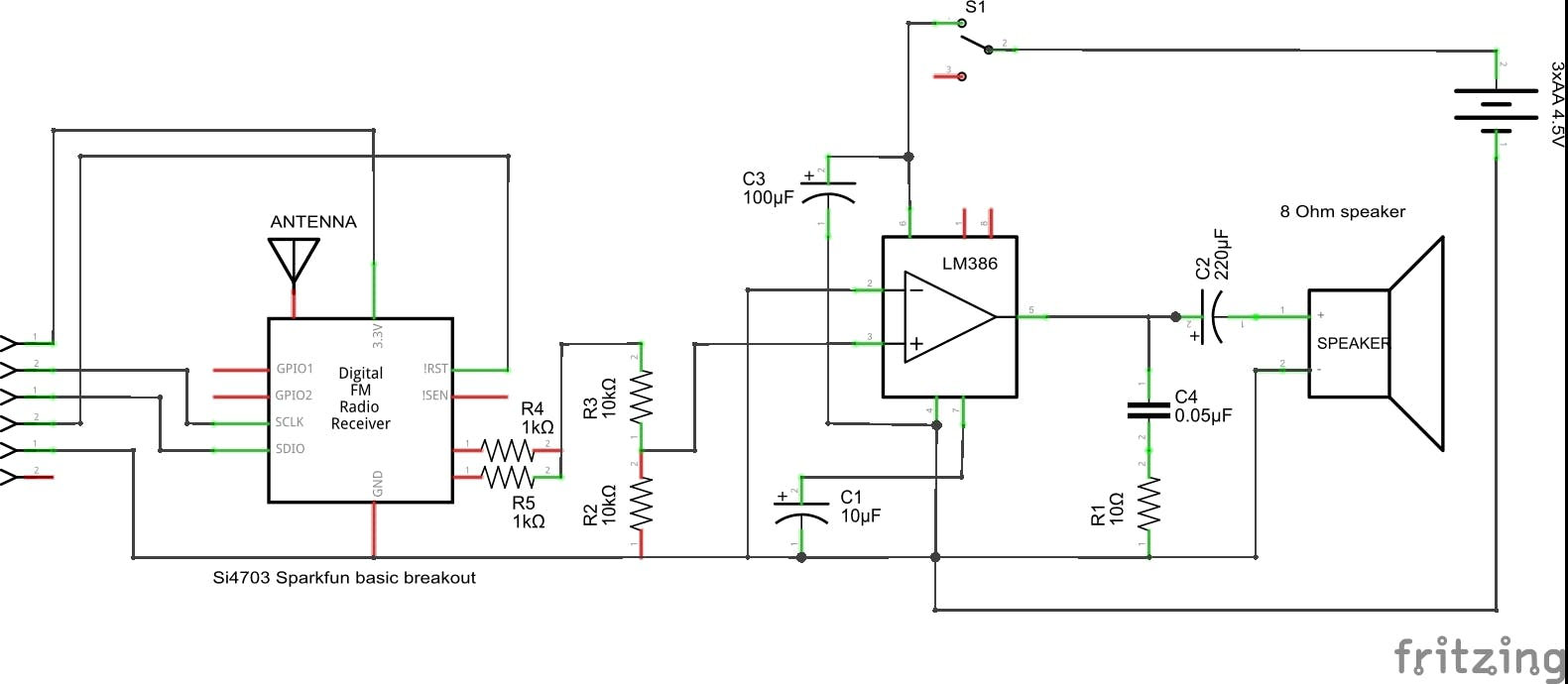 Mono audio amplifier with LM386N-1 (connect: LOUT -> R4; ROUT -> R5)