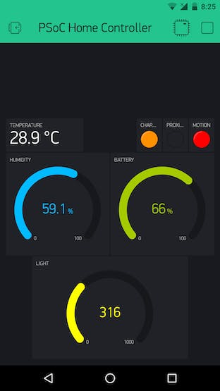 Sample using Gauge widget for light